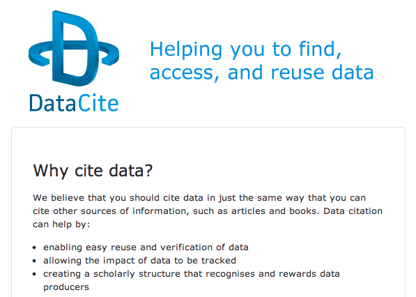 "DataCite ""Why cite data?"""
